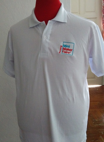 Penang Mini Maker collar t-shirt in white (available in XS to XL)
